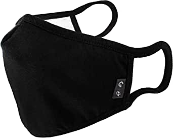 WITHMOONS Cotton Face Mouth Bandana Cool Mesh Multi Layers Dustproof Facial UV Protective Nose Bridge Strip Reusable Washable Black for Women Men EU0304Black