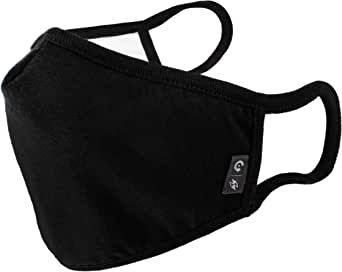 WITHMOONS Cotton Cloth Face Mask Cool Mesh Multi Layers Dustproof Shield Facial UV Protective Nose Bridge Strip Reusable Washable Black for Women Men EU0304Black