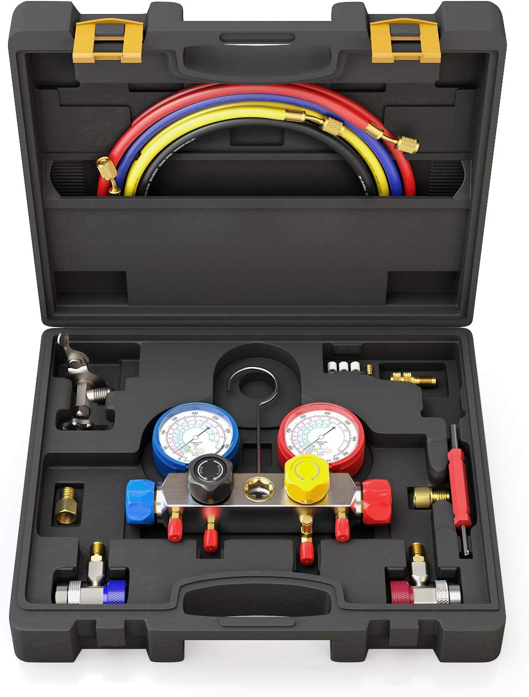 AURELIO TECH 4 Way AC Manifold Gauge Set Fits R134A R410A and R22 Refrigerants with 5 Feet Hose 3 Acme Tank Adapters Adjustable Couplers and Can Tap