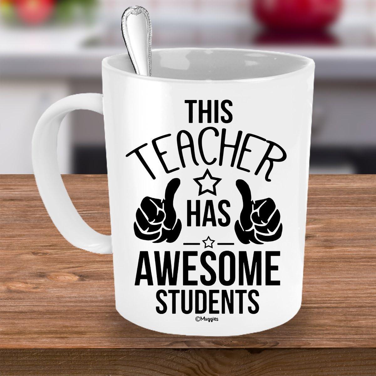 Unique Fun Christmas Muggies Teacher Has The Best Students Mug 11oz Xmas for Classroom School Teacher Mom Wife Funny Coffee Tea Cup Birthday