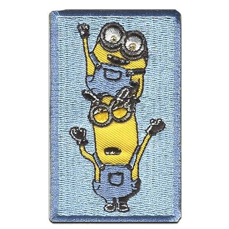 "gelb MINIONS /""STUART TELEFON/"" Patches Aufbü 7x5,5cm Aufnäher // Bügelbild"