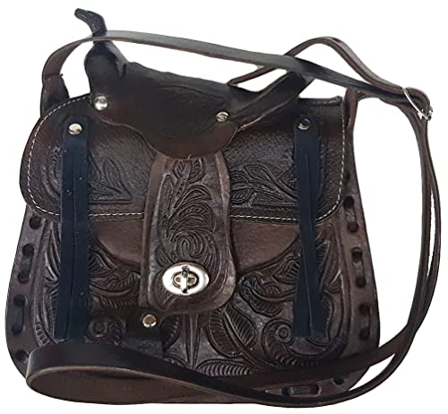 "Modestone Womens Leather Cartera para Colgar del Hombro Decorative Saddle Shape 8 1/2"""