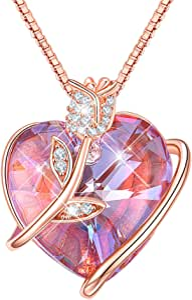 Collares Mujer Colgante Corazon Rosa Eterna Amor Cristal de Swarovski Joyas Mujer Plata, Regalos Originales para Mujer Madre Mamá Abuela San Valentin