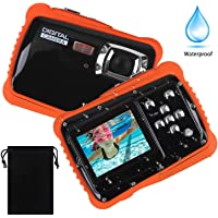 """Vanxse Kids Waterproof Camera,Digital Underwater Camera for Kids Boys and Girls, 12MP HD Action Sport Camcorder with 2.0"""" LCD, 8X Digital Zoom, Flash, Mic and 16G TF Card"""