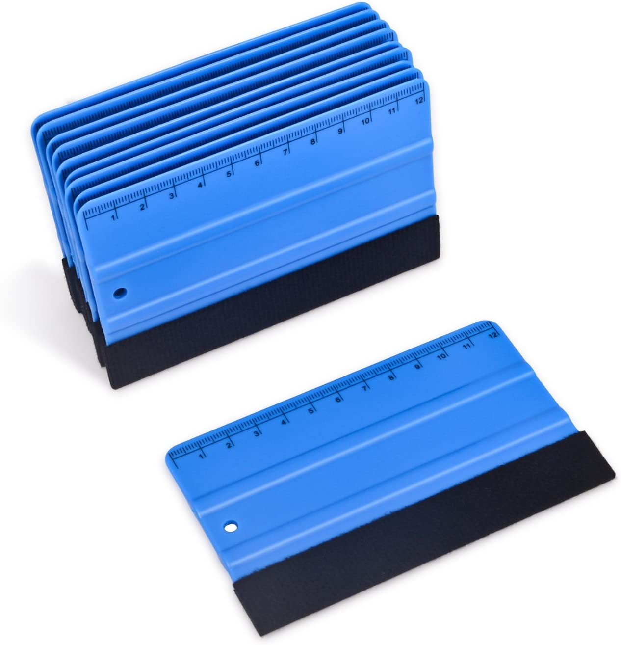 Winjun 10 Stück Blau Plastik Rakel Filzrakel Folienrakel Verkleberakel Kunststoffrakel Andrückrakel Kantenrakel Mit Lineal Für Auto Vinyl Wrap Fensterfolien Tönungsfolien Auto