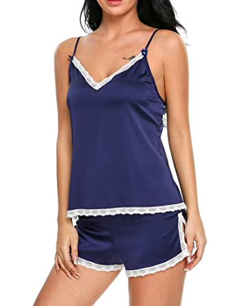 276f931c1a54 Ekouaer Womens Sleepwear Satin Pajama Cami Set Sexy Nightwear XS-XXL ...
