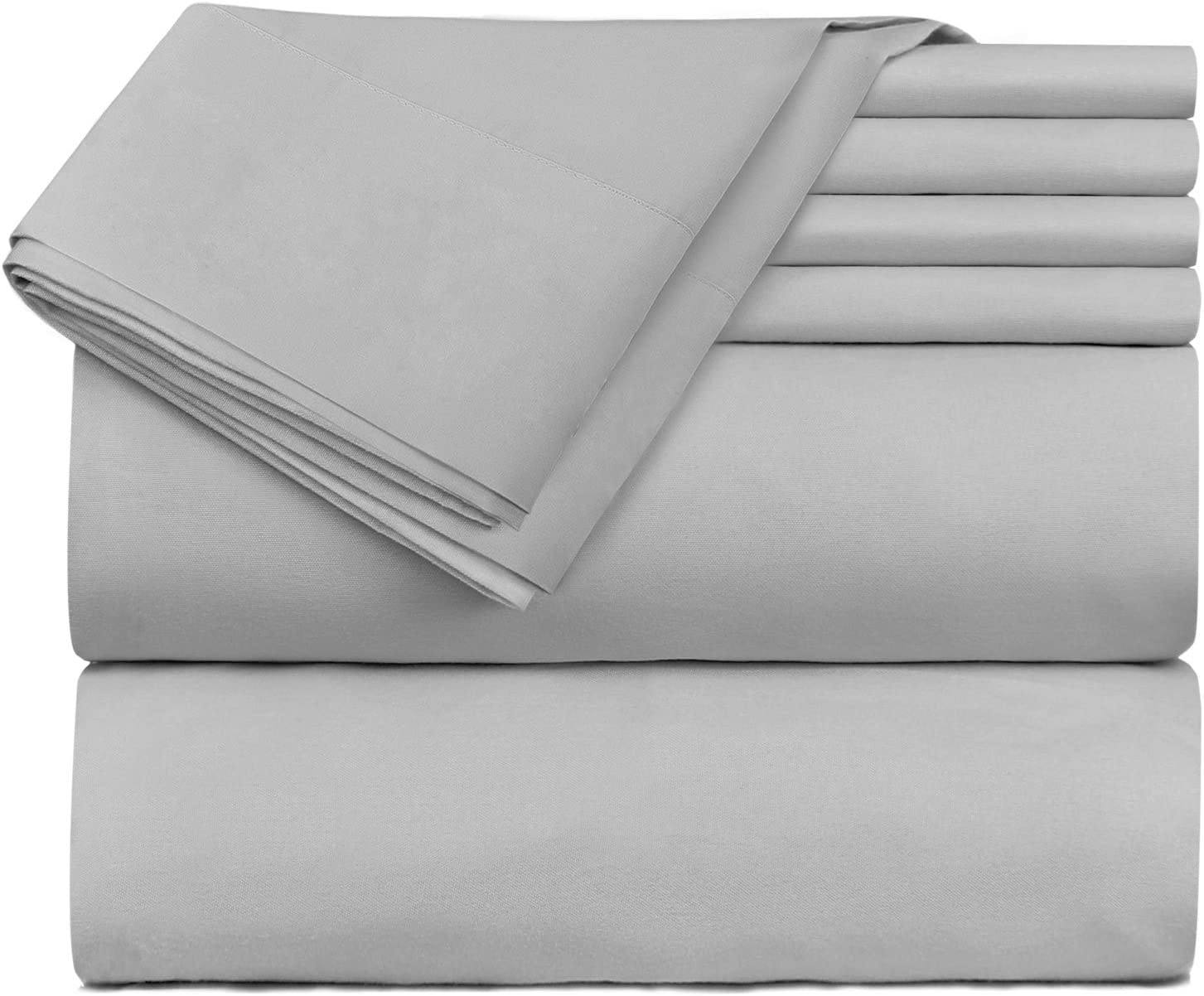 Hearth & Harbor 6 Piece Bed Sheet Set Extra Deep Pocket, Fits Mattress from 18-24 inces Depth, Queen, Silver