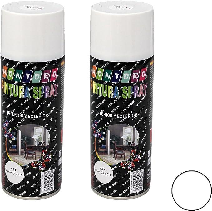 Image of Montoro - Pack de 2 botes de pintura en spray Blanco Mate A24 400 ml