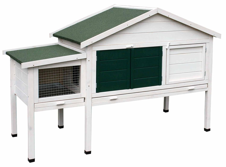 dobar 23029 Großer Kleintierstall XL mit Fensterläden, Außenterrasse, Schiebetür, Ruheraum, Bitumendach, 176 x 82 x 120 cm, Weiß/Grün