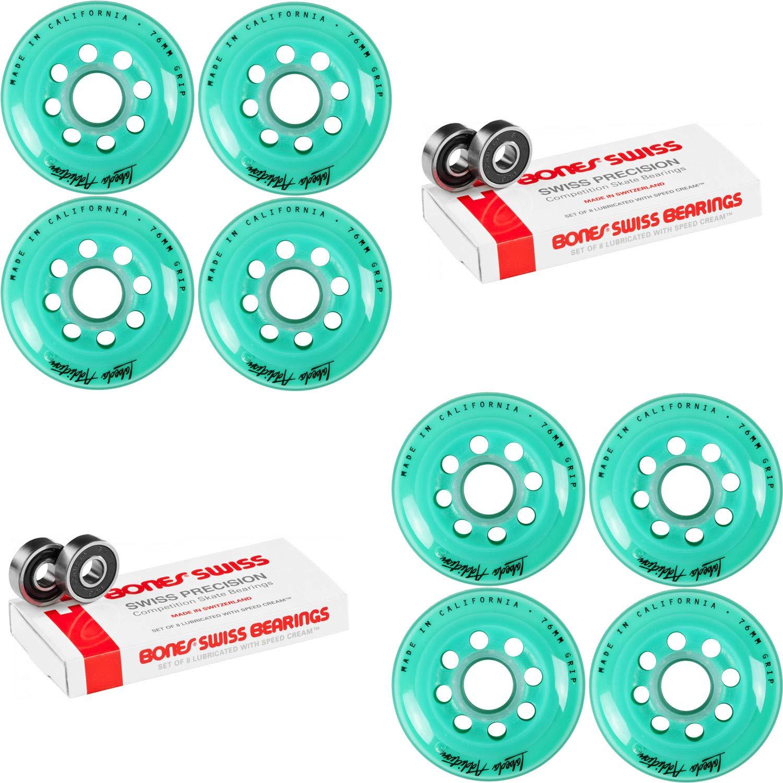 Labeda Inline Roller Hockey Skate Wheels Addiction Teal 76mm 8 Set Bones Swiss