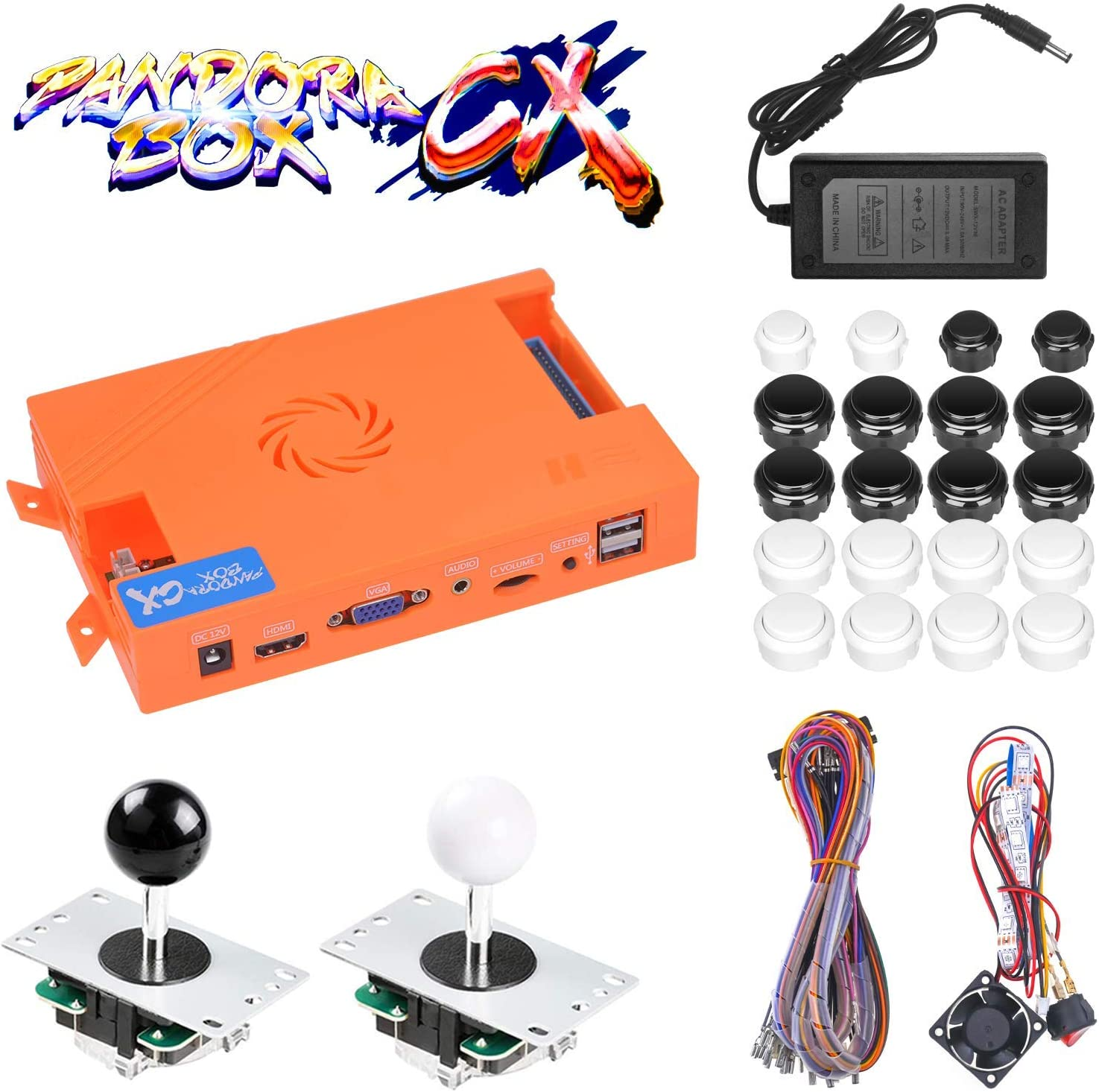 TAPDRA 3A Original Pandora Box CX 2800 in 1 Home Arcade Board Full DIY Kit  DIY with Harness Cable/Power Switch Adapter, HDMI VGA 720P LCD Monitor, ...