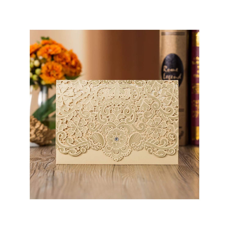 Amazon Com Laser Cut Wedding Invitations Card Lace Print