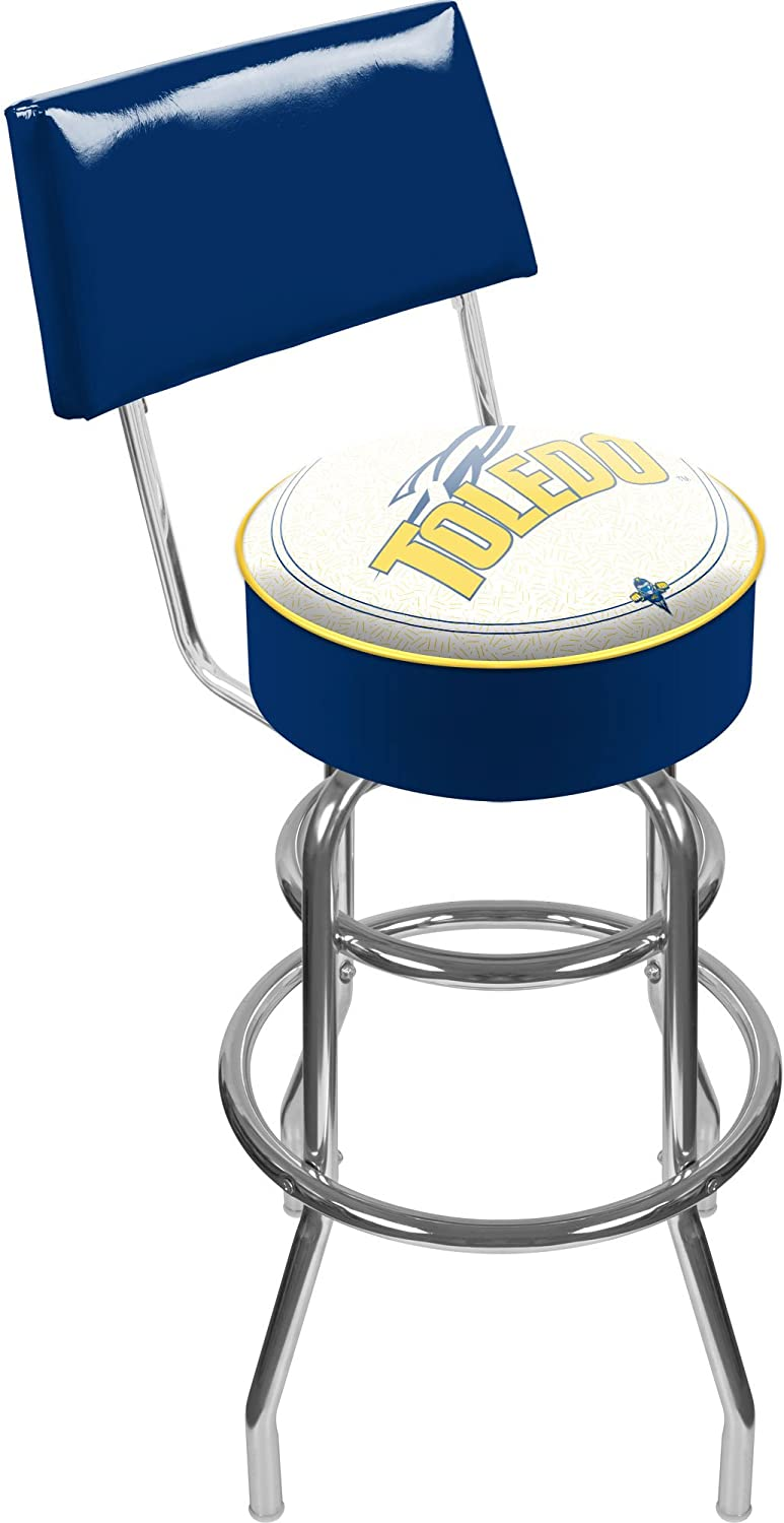 NCAA University of Toledo Padded Swivel Bar Stool with Back