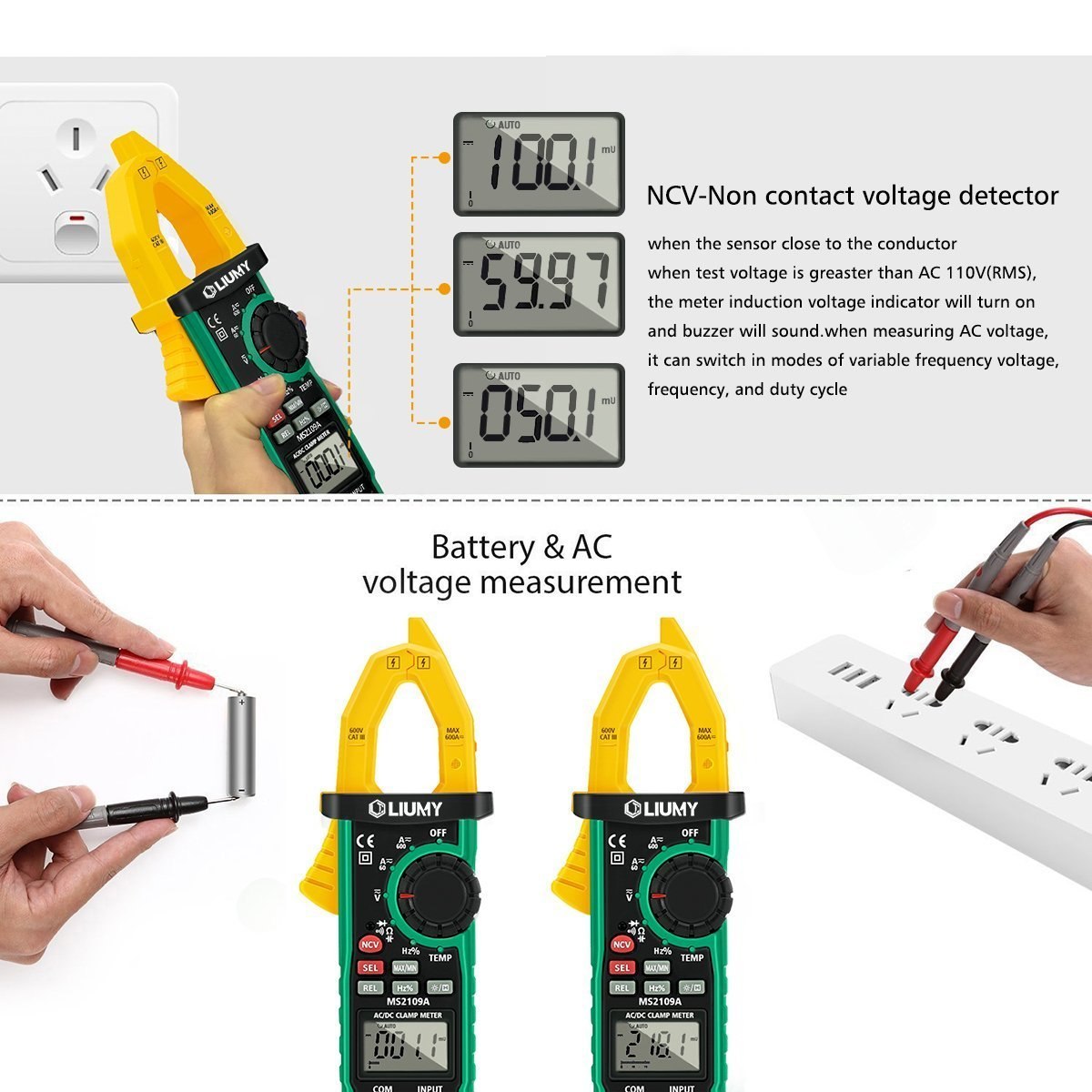 Digital Clamp Meter, LIUMY Auto-Ranging AC/DC Clamp Multimeter with Analog Function, NCV, Work Light/ Memory peak, Non- contact Voltages/ Frequency/ Resistance/ Capacitance/ Connections/ Diodes by Liumy (Image #6)