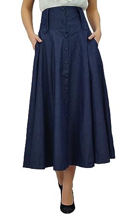 Bimba Mid-Calf High Waist Denim Skirt Long Flared A line Retro ...