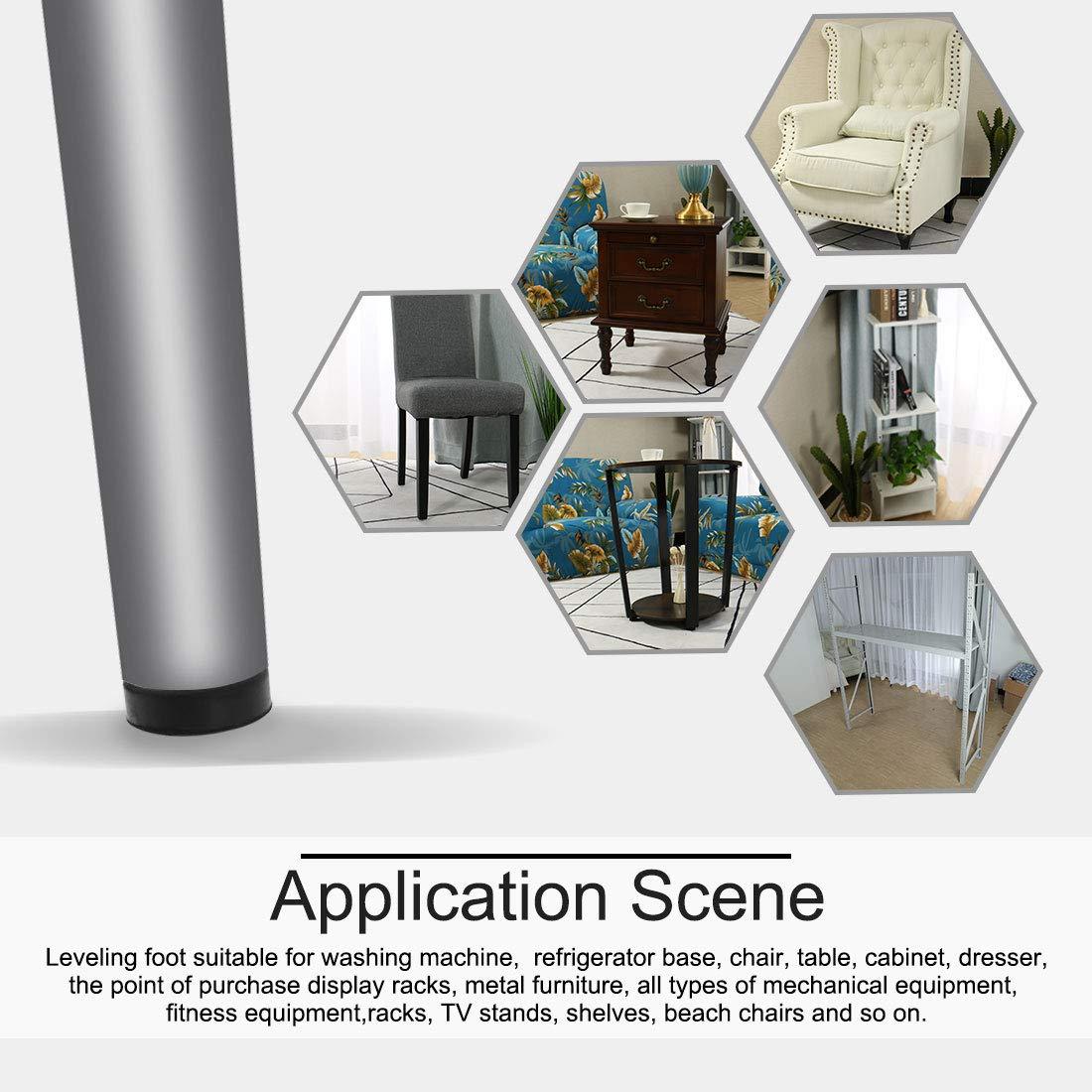 Sourcingmap M10/x 15/x 43/mm Pieds de nivellement r/églable Leveller Sol Base ronde pour meubles Chaise Pied de table Lot de 8