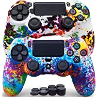 Sofunii 2pcs Camo Skin for PS4 Controller, Anti-Slip Silicone Protector Cover Shell Case with 8 Thumb Grip Caps…