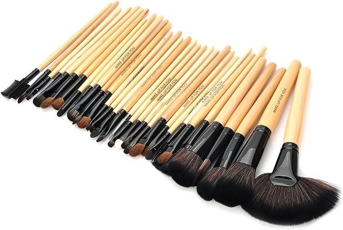 Pack de 32 Kit de pinceles de maquillaje Madera Brochas de Maquillaje Set Brocha para base Brocha para polvos sombra de ojos profesional: Amazon.es: Hogar