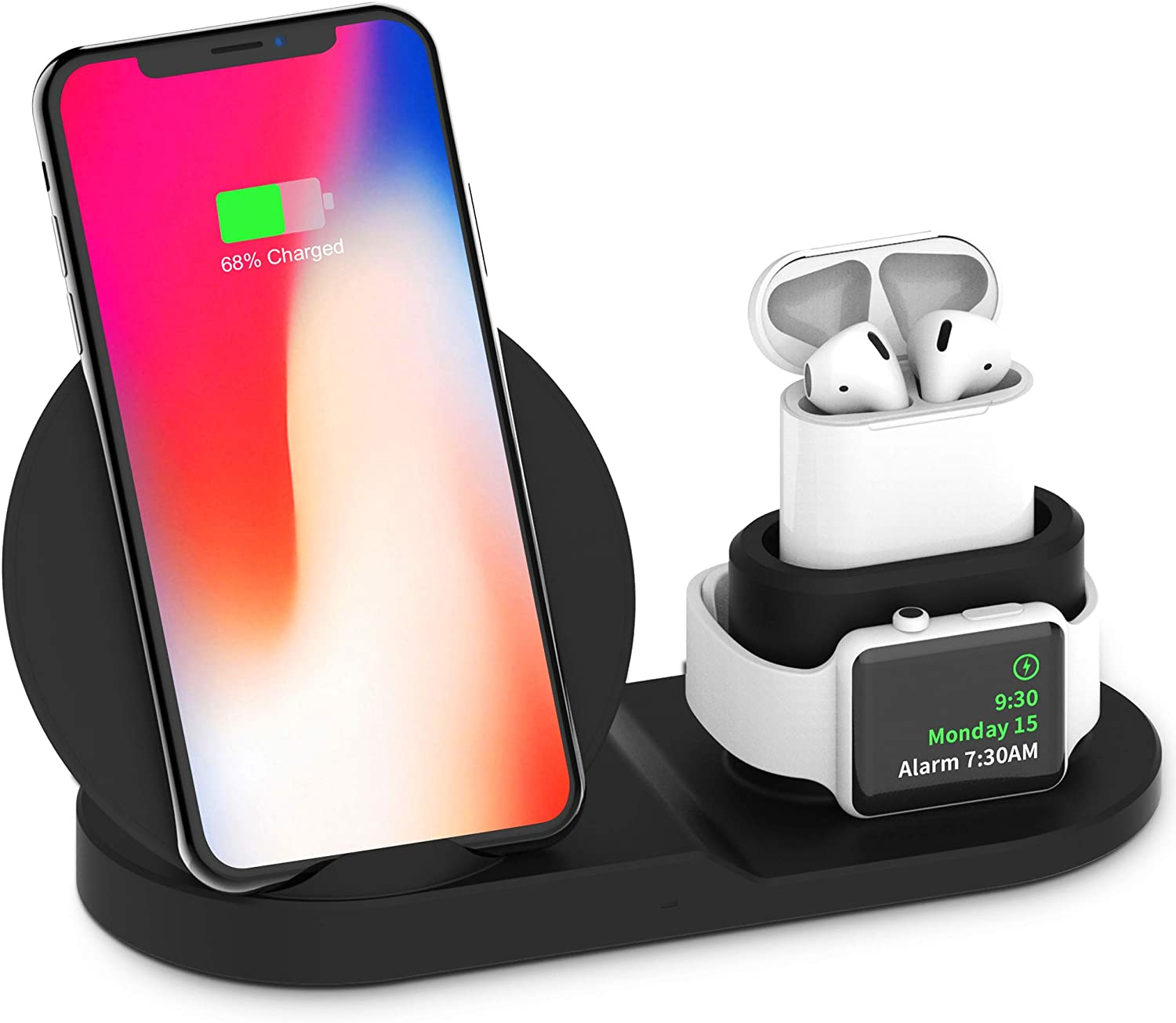 3 in 1 Charging Station for Apple,Wireless Charger, Wireless Charging Stand Apple Watch Charger for Apple Watch and iPhone Airpod Compatible for iPhone X/XS/XR/Xs Max/8 Plus iWatch Airpods-Black.