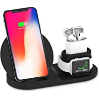 MANCASSY Wireless Charger, 3 in 1 Wireless Charging Station Compatible with Apple Watch and Airpods, Qi Fast Wireless Charging Stand Compatible with iPhone X/XS/XR/Xs Max/8/8 Plus