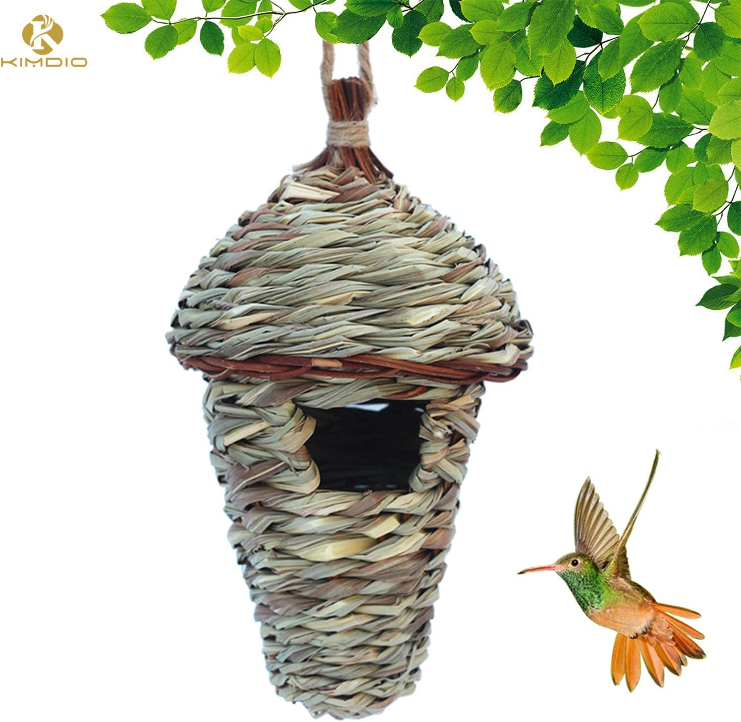 Hanging Birdhouse Hummingbird Nest Fiber Hand-Woven Roosting Bird House