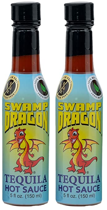 Swamp Dragon Tequila Based Hot Sauce Contains No Vinegar Make Eating Fun  (10 oz 2 pack)