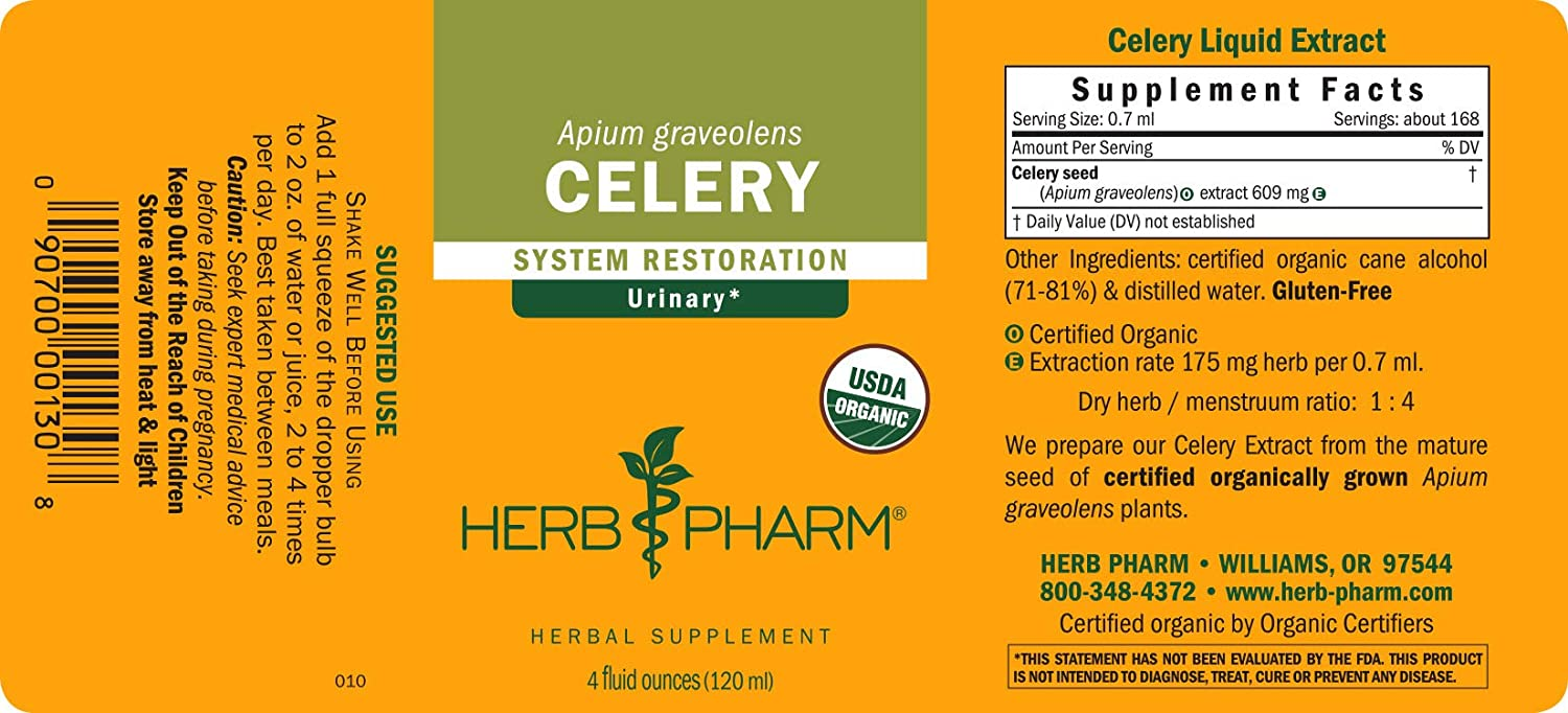 Herb Pharm Certified Organic Celery Seed Liquid Extract for Urinary System Support – 4 Ounce