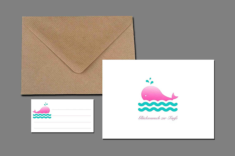 Glückwunschkarte + Briefumschlag + Adressaufkleberrosa Wal Taufe Geburt Baby Mädchen