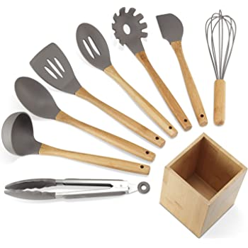 nexgadget premium silicone kitchen utensils 9 piece cooking utensils set with bamboo wood handles for - Kitchen Items