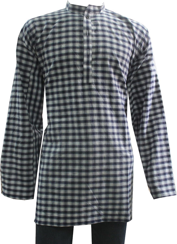 Lakkar Haveli Indian 100/% Cotton Men/'s Loose fit Multi Color Shirt Kurta Check Print