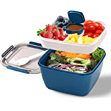 Portable Salad Lunch Container - 38 Oz Salad Bowl - 2 Compartments with Dressing Cup, Large Bento Boxes, Meal Prep to go Cont