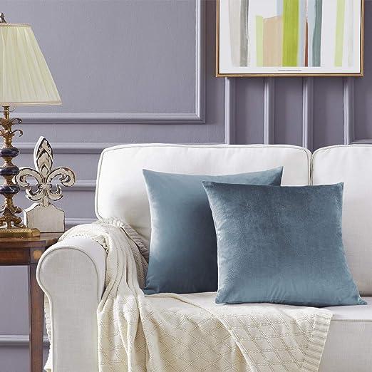 Gris Azul Terciopelo Almohada Cubre Caso Suave decoración Fundas de de cojín para sofá Dormitorio Coche Cama Casa Decor 50x50cm ,Pack de 2