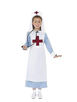 Smiffys Disfraz Enfermera Primera Guerra Mundial de Color Azul con Vestido, Gorro y Dela