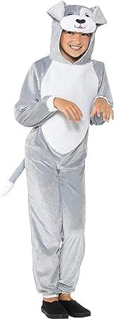 """Incluye jumpsuit con capucha con disfraz de perro, gris,,Edad 10–12, Cintura 25.5–26.5""""/pecho 3"""