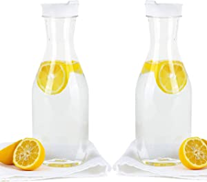 Party Bargains Clear Plastic Pitcher [2 Pack] 50 Oz Premium Quality & Heavy Duty Water Containers | Excellent for Iced Tea, Powdered Juice, Cold Brew, Mimosa Bar, More