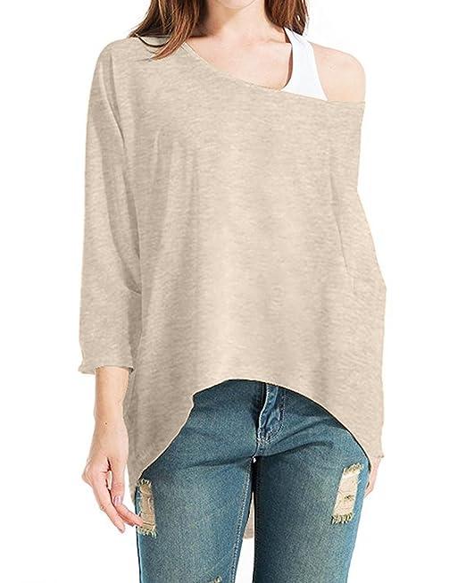 StyleDome Mangas Largas Mujer Camiseta Elegante Algodón Playa Oficina Chiffón Casual Cuello Irregular Blusa Beige S