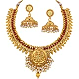Spargz Gold Brass Metal Synthetics Stone Necklace Set for Women