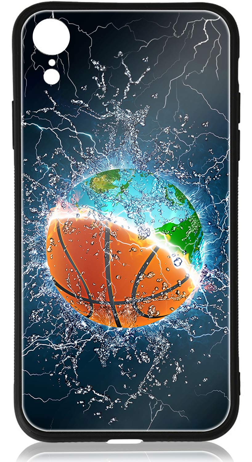 iPhone XR Cases iPhone XR Case HuntHawk Anti-Drop TPU and Hard PC Scratch-Proof Tempered Glass Protector Fit iPhone XR Phone Case for Girls Boys Earth and Basketball in Water