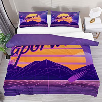 BOLIMAO 3 Pieces Purple Vaporwave Background Duvet Cover Set (1 Duvet Cover + 2 Pillowcases) Queen Size Breathable Bedding Sets Room Decor for Adult Women Men Teens: Home & Kitchen