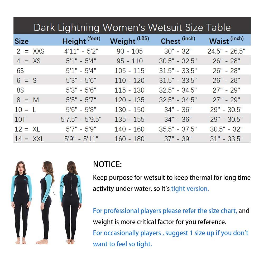 dark lightning 3/2mm Wetsuit Women, Women's Wetsuit Long Sleeve Full Suit Premium Neoprene Womens Suit Scuba Diving/Surf/Canoe, Jumpersuit (Size6/S) by dark lightning