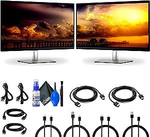 2 x Dell P2721Q 27-Inch 16:9 4K USB Type-C IPS Ultra-Thin Bezel Monitor (P2721Q) + 2 x HDMI Cable + Microfiber Cloth - Dual Monitors
