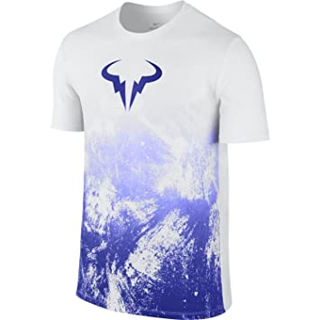 Nike M Nkct tee Camiseta Línea Rafa Nadal, Hombre, Blanco (White/Paramount Blue), S: Amazon.es: Deportes y aire libre
