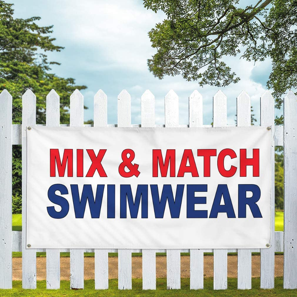 Vinyl Banner Multiple Sizes Mix/& Match Swimwear Red Blue Costume /& Fashion Outdoor Weatherproof Industrial Yard Signs 8 Grommets 48x96Inches