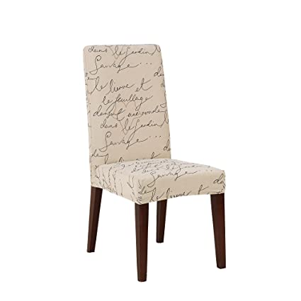 Pleasant Sure Fit Stretch Pen Pal By Waverly Dining Chair Slipcover Parchment Sf43529 Inzonedesignstudio Interior Chair Design Inzonedesignstudiocom