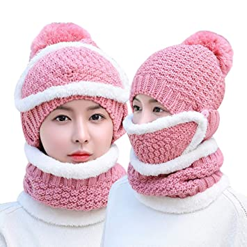 bcab78a851d GAZEPO Winter Hats and Scarf Set for Women Warm Knitted Hat Ladies Winter  Cycling Earmuffs Cap  Amazon.in  Home   Kitchen