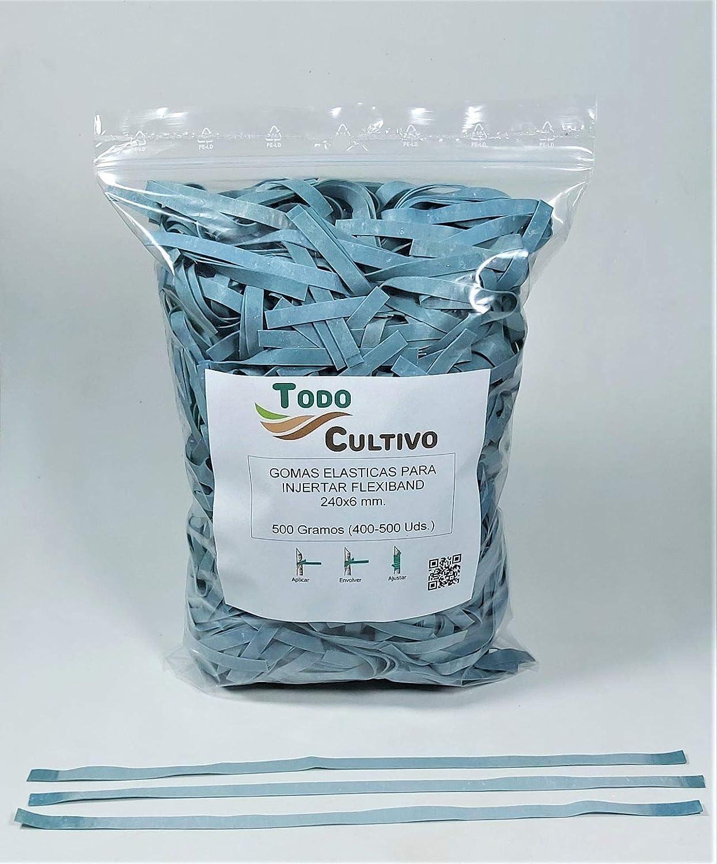 Todocultivo Gomas de injertar Flexiband Especialmente estudiadas para Todo Tipo de injertos. 250 Gramos 240x8 mm