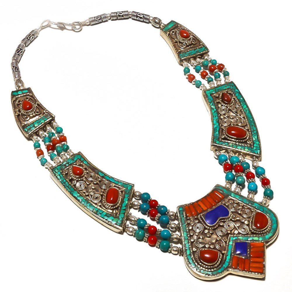 Nepali Work Jewelry Blue Turquoise Lapis Red Coral Sterling Silver Overlay 149 Grams Necklace 18