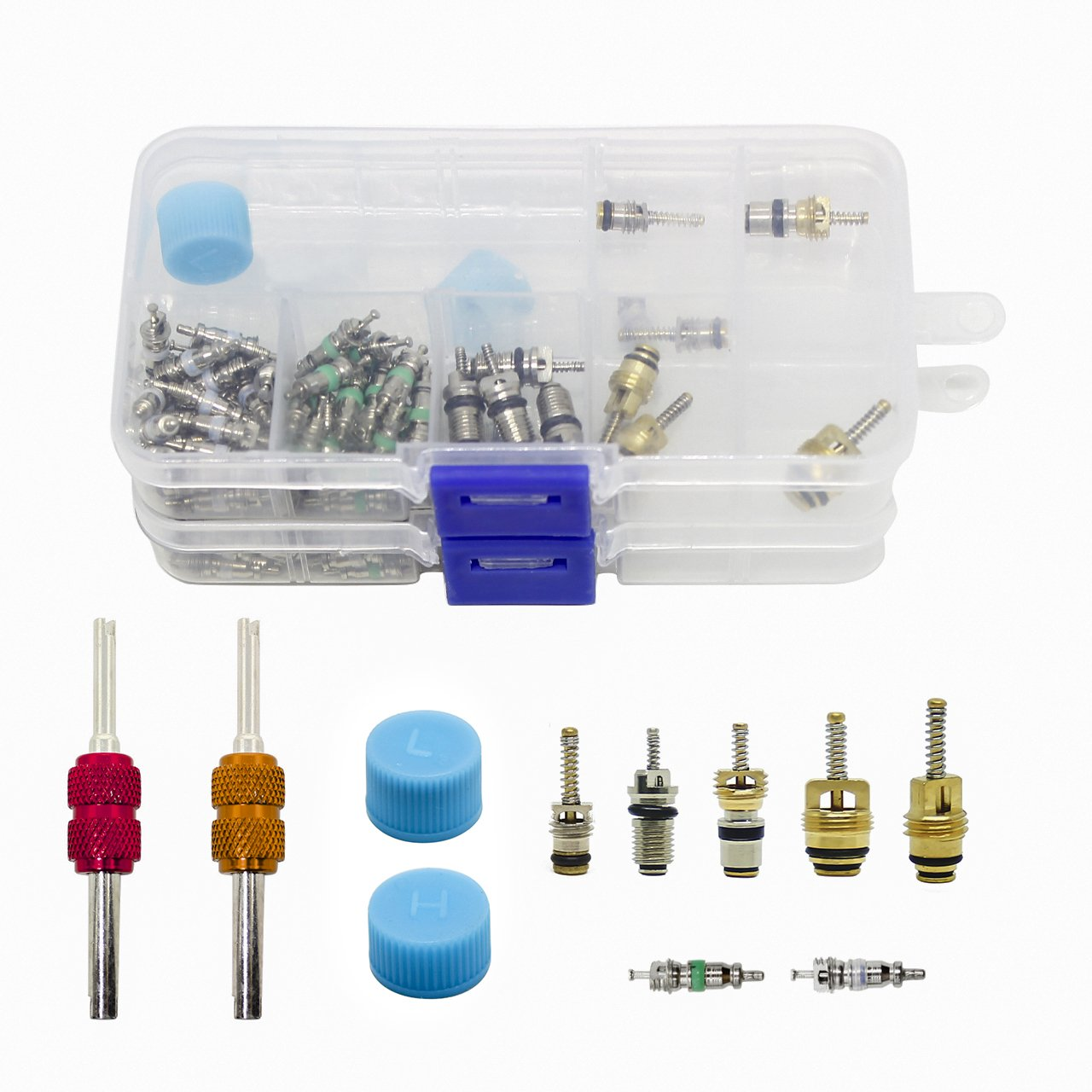 DEDC Air Conditioning Valve Core Set, 108Pcs A/C R134A/R12 Valve Cores Kit Universal Air Conditioning Accessories Assortment with Remover Tool Valve Cap in Two Box