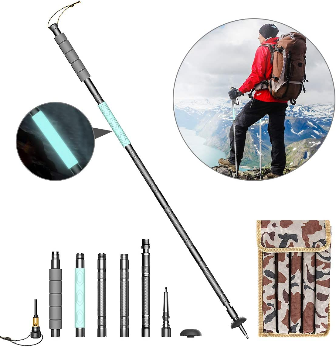 Napasa Multi Function Trekking Poles with Fluorescent Handle Collapsible Lightweight Aluminum Alloy Walking Sticks for Hiking Travel Camping Climbing