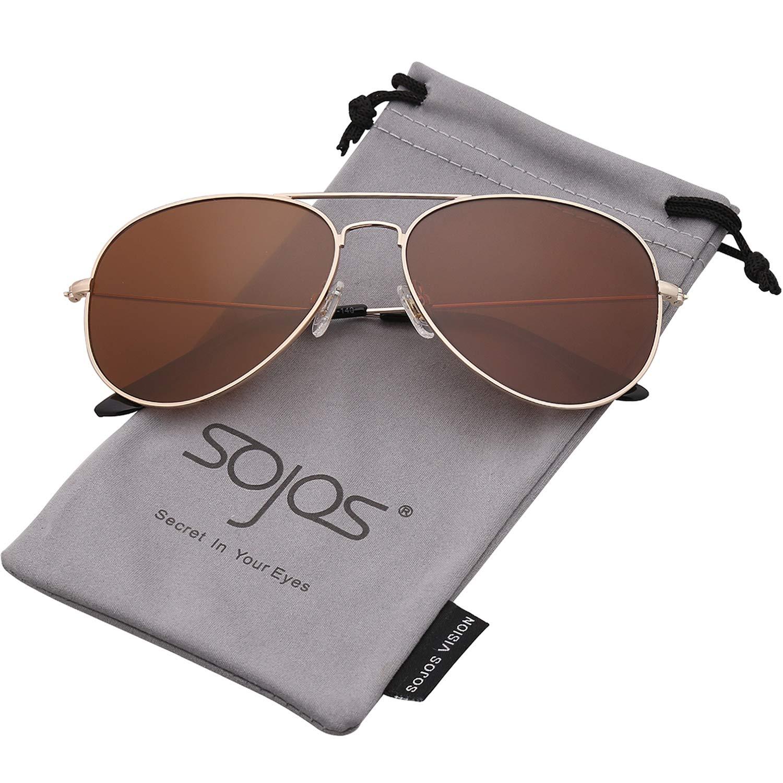 SojoS Classic Aviator Polarized Sunglasses UV400 Lens SJ1054 Gold/Brown SJCA1054C7